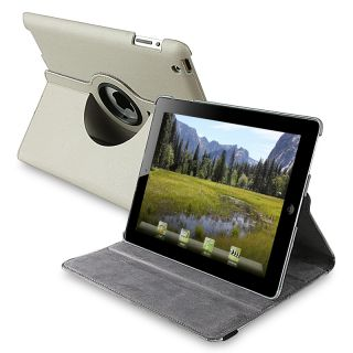Grey 360 degree Swivel Leather Case for Apple iPad 2