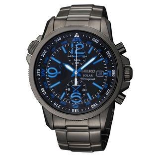 Seiko Mens Solar Chrono Black Ion Compass Watch