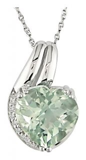 14k White Gold Green Amethyst Heart Necklace