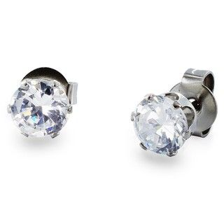 West Coast Jewelry Stainless Steel 3 mm Cubic Zirconia Stud Earrings