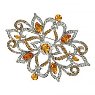 Cano White and Topaz Crystal Brooch