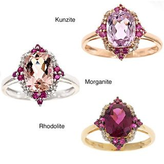 Yach 14k Yellow Gold Rhodolite, Ruby, Diamond Accent Ring