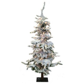 Faux Snow Alpine 6 foot Pre lit Christmas Tree