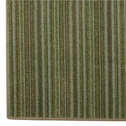 Hand tufted Printed Green Striped Rug (8 x 10)