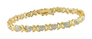 Gold Plated Silver Diamond Heart Linked Bracelet (Set of 6