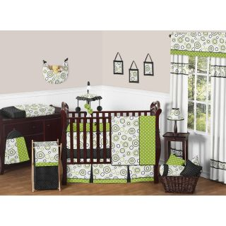 Sweet JoJo Designs Spirodot Lime and Black 9 piece Crib Bedding Set