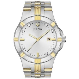 Bulova Mens Two Tone Stainless Steel 8 Diamond Dial Watch