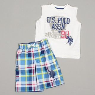 US Polo Boys Plaid Swimsuit Set