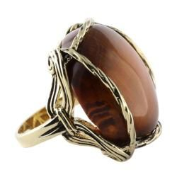 Angelina DAndrea 14k Goldplated Tigers Eye Ring