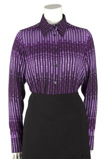 Gucci Purple Silk Printed Blouse