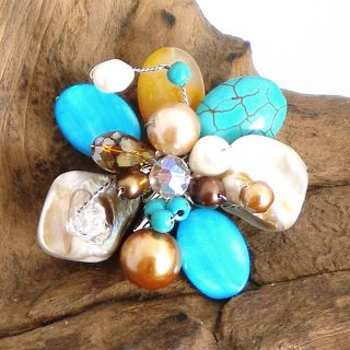 Floral Cluster Blue Turquoise and Pearl Brooch Pin (Thailand