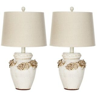 Indoor 1 light Raised Floral Garden Table Lamps (Set of 2)