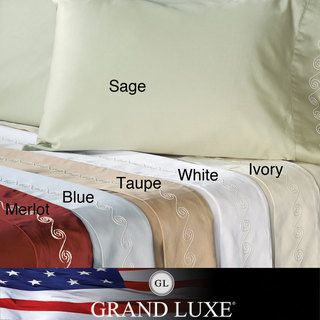 Grand Luxe Egyptian Cotton Sateen 500 Thread Count Swirl Deep Pocket