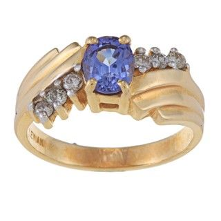 Encore by Le Vian 14k Gold Tanzanite and 1/6ct TDW Diamond Ring (M N