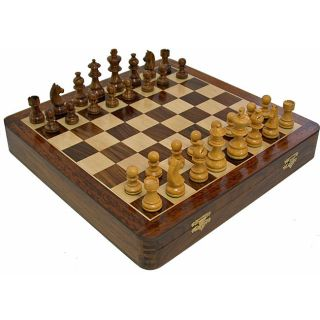 Handcrafted 12 inch Wood Chess Set with Chessmen Storage (India