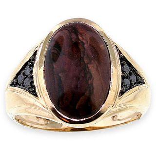 Michael Valitutti 14k Gold Jasper 1/5ct TDW Black Diamond Ring