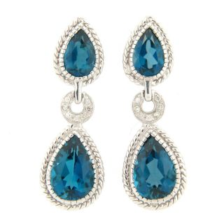 Meredith Leigh Sterling Silver London Blue Topaz and Diamond Earrings