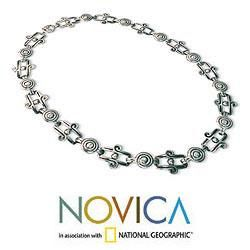 Sterling Silver Aztec Royalty Chain Necklace (Mexico)
