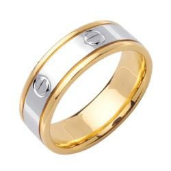 14k Two tone Gold Mens Screw Design Wedding Band