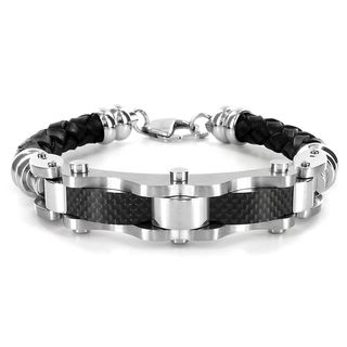 Stainless Steel and Black Leather Mens Carbon Fiber Bracelet