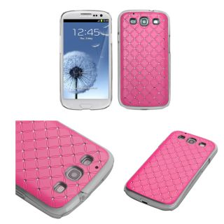 Premium Samsung Galaxy S III/S3 Pink Lattice Rhinestone Case