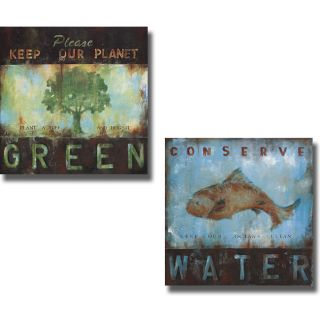 Wani Pasion Green Planet and Conserve Water 2 piece Canvas Art Set
