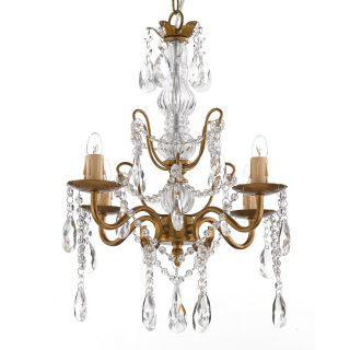 Gallery 4 light Gold Wrought Iron and Crystal Chandelier Today $88.99