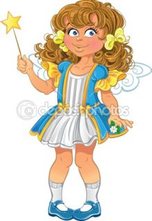 Pretty little girl with magic wand  Stock Vector © Iulia Brovchenko