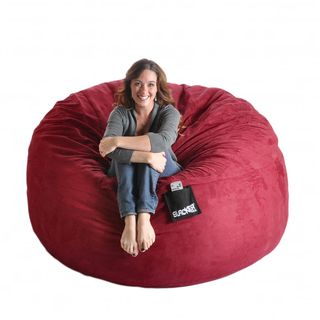 Slacker Sack 6 foot Cinnabar Red Microfiber and Foam Bean Bag