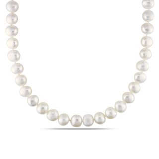 Miadora White 9 10mm Freshwater Pearl Necklace (18 24 inch