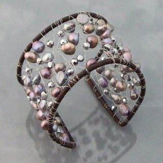 Freshwater Black Pearl and Crystal Mesh Cotton Cuff (5 10mm)(Thailand