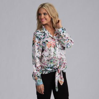 Violet & Claire Womens Potpourri Print Long Sleeve Top