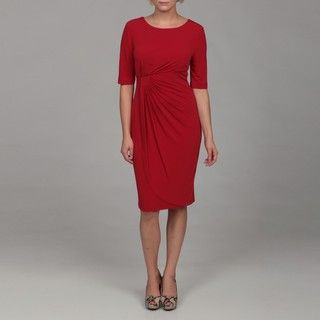 Connected Apparel Womens Lipstick Red Ruche Dress