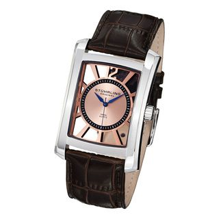 Stuhrling Original Mens Gatsby Skeleton Quartz Leather Strap Watch