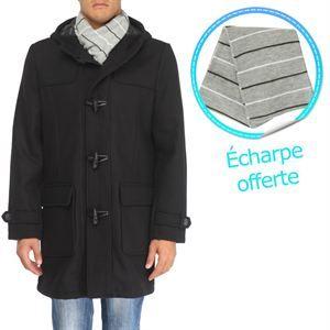 TRAXX Duffle  Coat Echarpe H Noir   Achat / Vente MANTEAU   CABAN