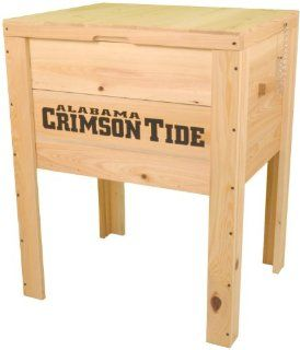 NCAA 68qt Collegiate Cypress Wood Tailgate Deck Box Cooler (Alabama