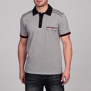 MO7 Mens Striped Heather Jersey Polo Shirt