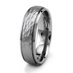 Stainless Steel Mens Hammered Ring