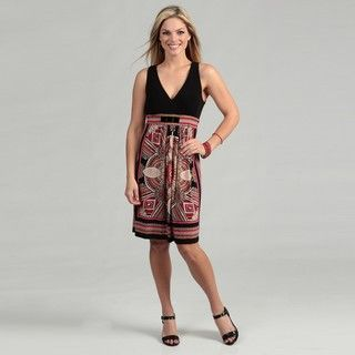 Studio 1 Womens Black/ Coral Abstract Dress