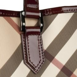 Burberry Nova Medium Beige Plaid Tote Bag