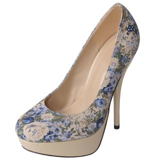Glaze by Journee Co Womens Nicole 2 Bei Floral Print Platform Pumps