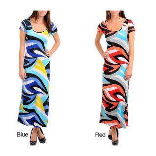 Stanzino Womens Short Sleeve Geometric Print Long Dress Today: $41.99