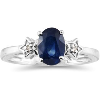 10k White Gold Blue Sapphire and Diamond Star Ring