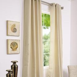 Grommet Striped Bone Faux Silk Jacquard 95 inch Curtain Panel