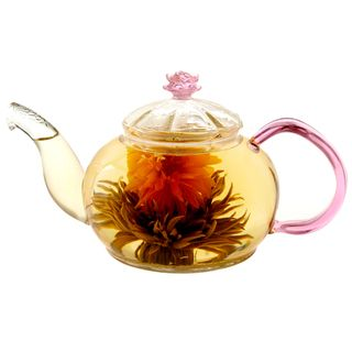 Tea Beyond Hand Crafted 20 Ounce Rose Series Juliet Glass Teapot