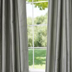 Striped Seafoam Faux Silk Jacquard 95 inch Curtain Panel