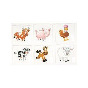 144 Farm animal tattoos   barnyard Party favors: Toys