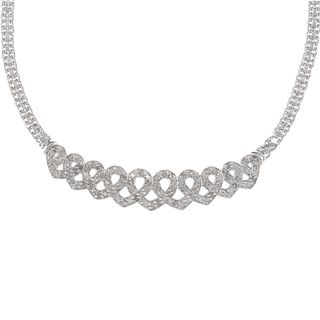 Silvertone 1ct TDW Diamond Heart Infinity Fashion Necklace