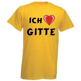 Shirt mit Aufschrift Ich Liebe Gitte Sport & Freizeit