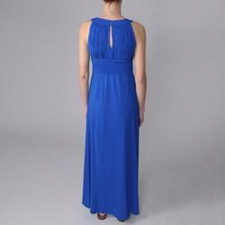 Sangria Womens Keyhole Neck Sleeveless Maxi Dress